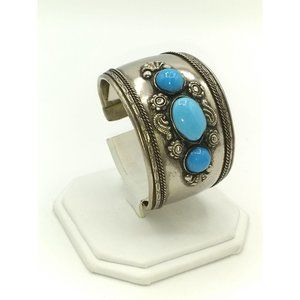 Vintage Tibetan Silver and Turquoise Glass Cuff